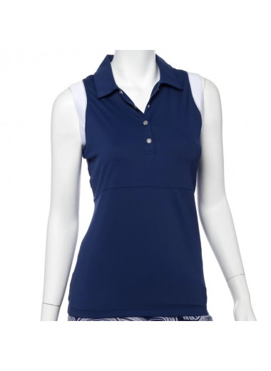 EPNY Sleeveless blocked polo w/stripe
